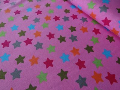 Jersey Sterne rosa pink grün blau