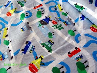 Baumwolle Straßenstoff, Autos Bus grau blau grün