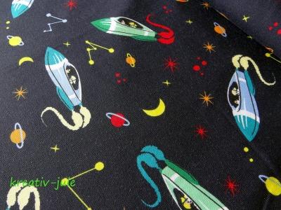 Jersey Rakete Raumschiff Sterne dunkelblau bunt
