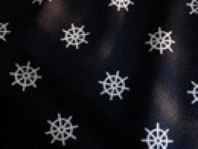 Baumwollstoff Steuerrad marine maritim blau weiß