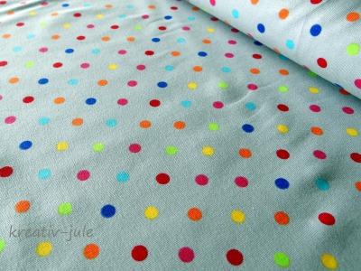 Jersey Punkte bunt auf grau grün gelb blau pink