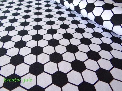 Jersey Fußball schwarz weiß Fußballstoff sechseck