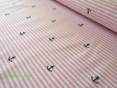 Streifenjersey rosa weiß Ringeljersey Anker Ahoi