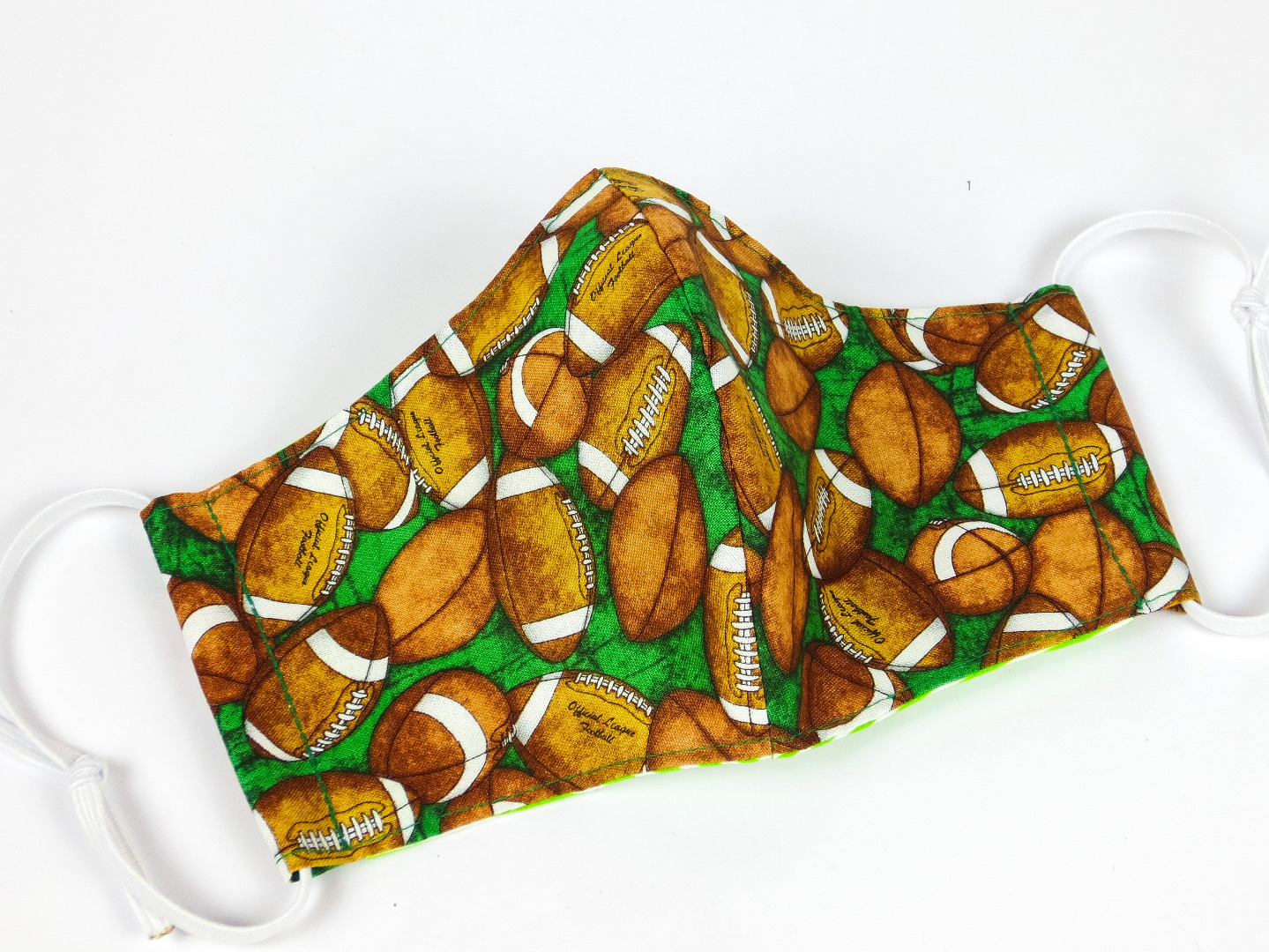 Alltagsmaske Football Bälle grün 100 Baumwolle