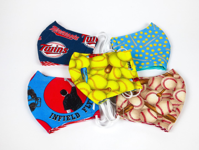 Alltagsmaske Softball türkis 100 Baumwolle mit