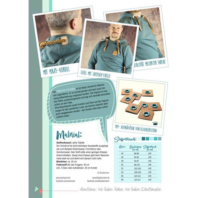 Männer Hoodie von AnniNanni Papierschnittmuster Blaubeernstern