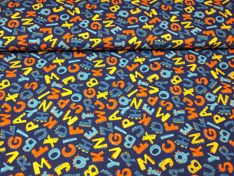 Stoff Buchstaben blau 100 Baumwolle Patchwork