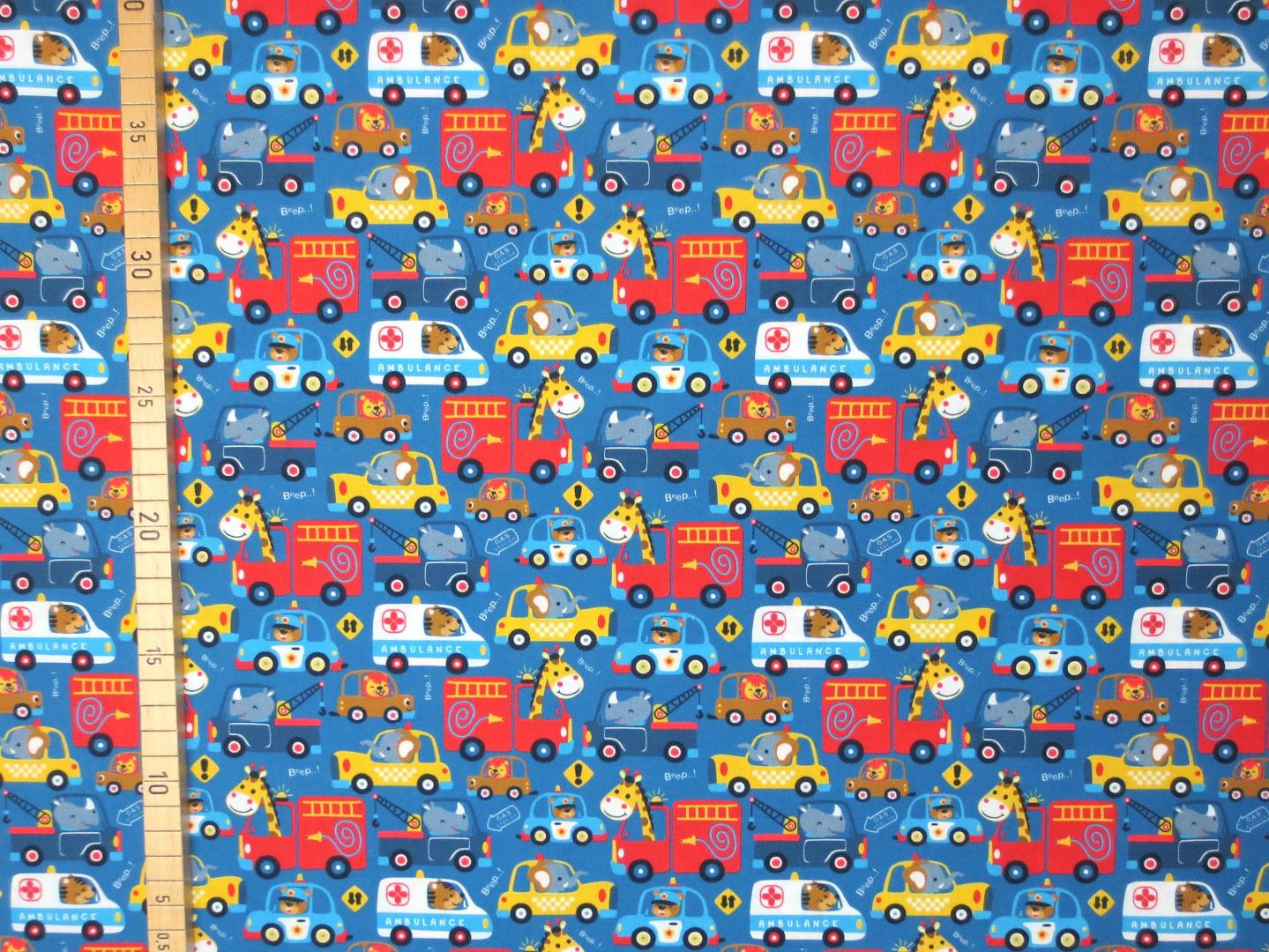 Baumwollstoff Tiere in Autos blau- 100