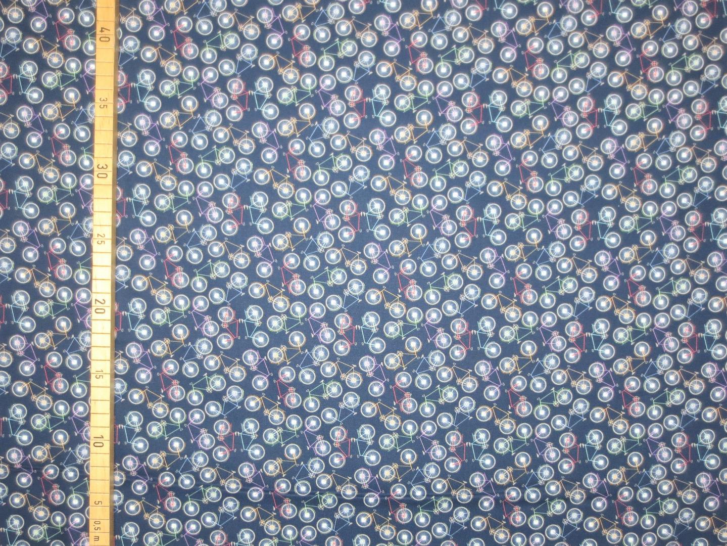 Baumwollstoff Fahrrad - blau- 100 Baumwolle