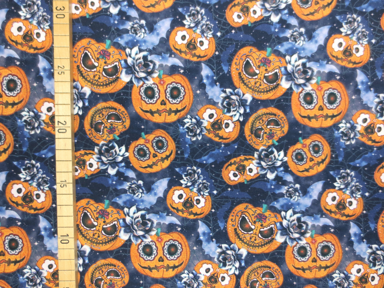 Baumwollstoff Halloween Kürbisse schwarz 100 Baumwolle
