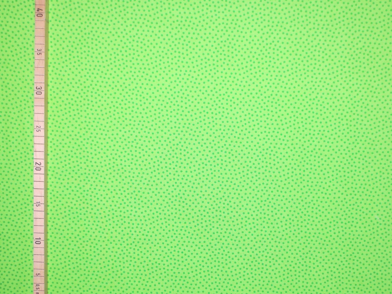 Baumwollstoff Pünktchen EUR/m dunkelgrün auf hellgrün