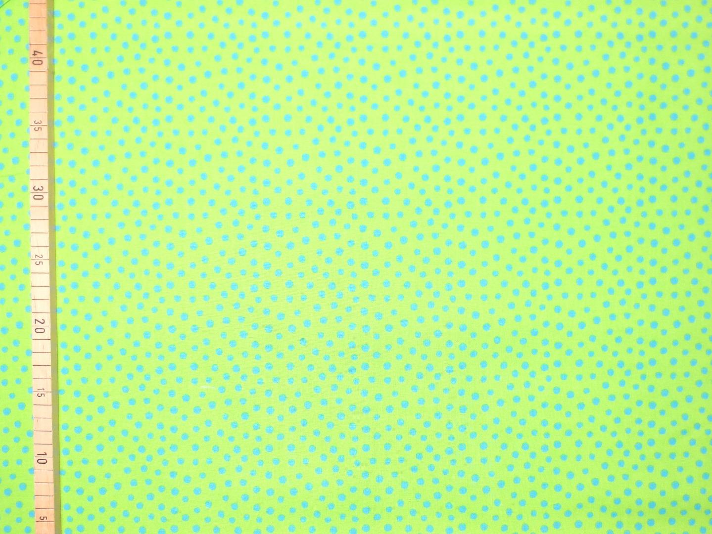 Baumwollstoff Punkte EUR/m blau auf hellgrün