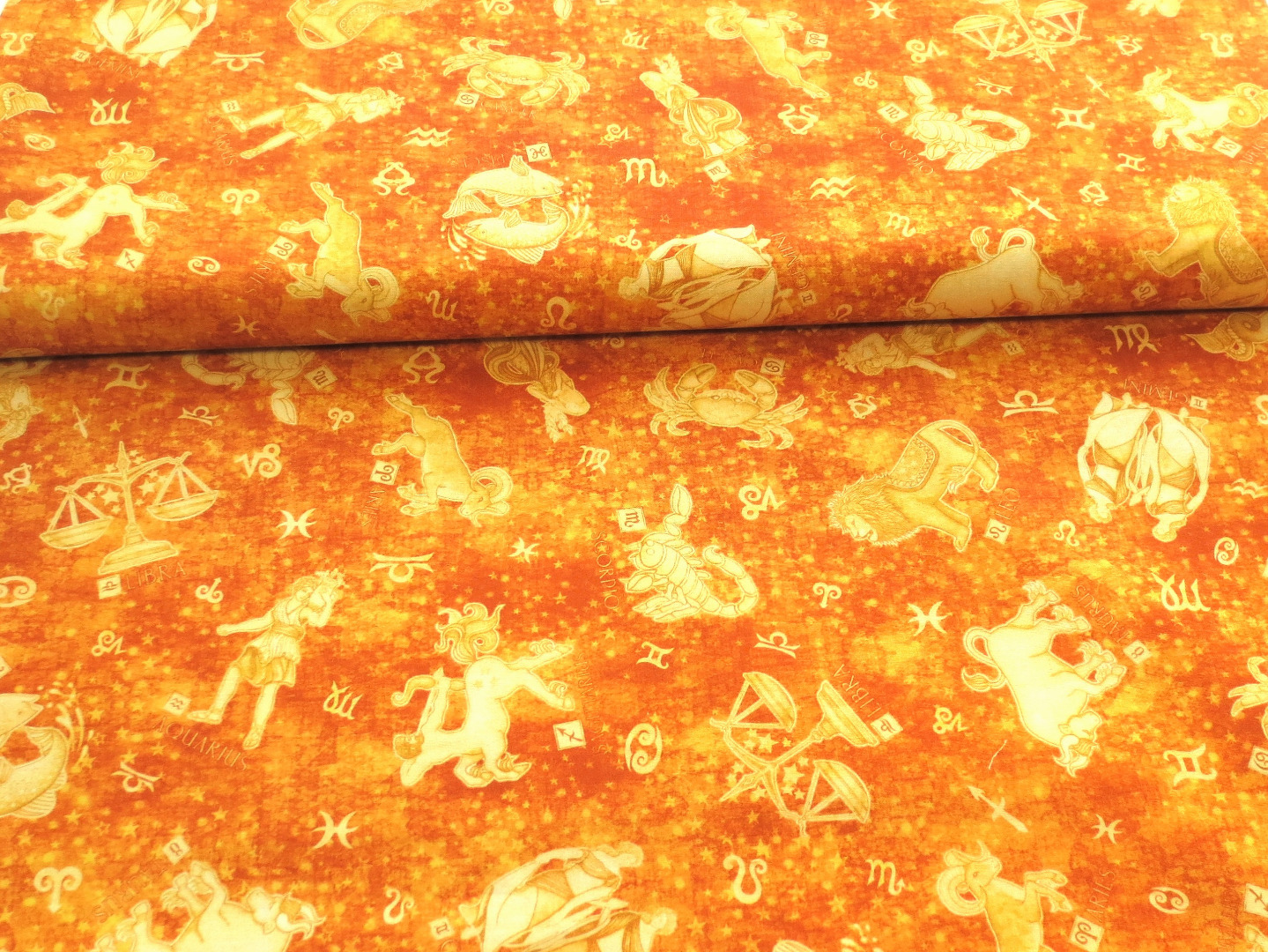 Stoff Sternzeichen 100 Baumwolle orange/gelb Patchwork