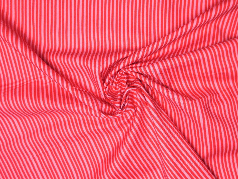 Baumwollstoff Streifen EUR/m rosa-rot Westfalenstoffe 100