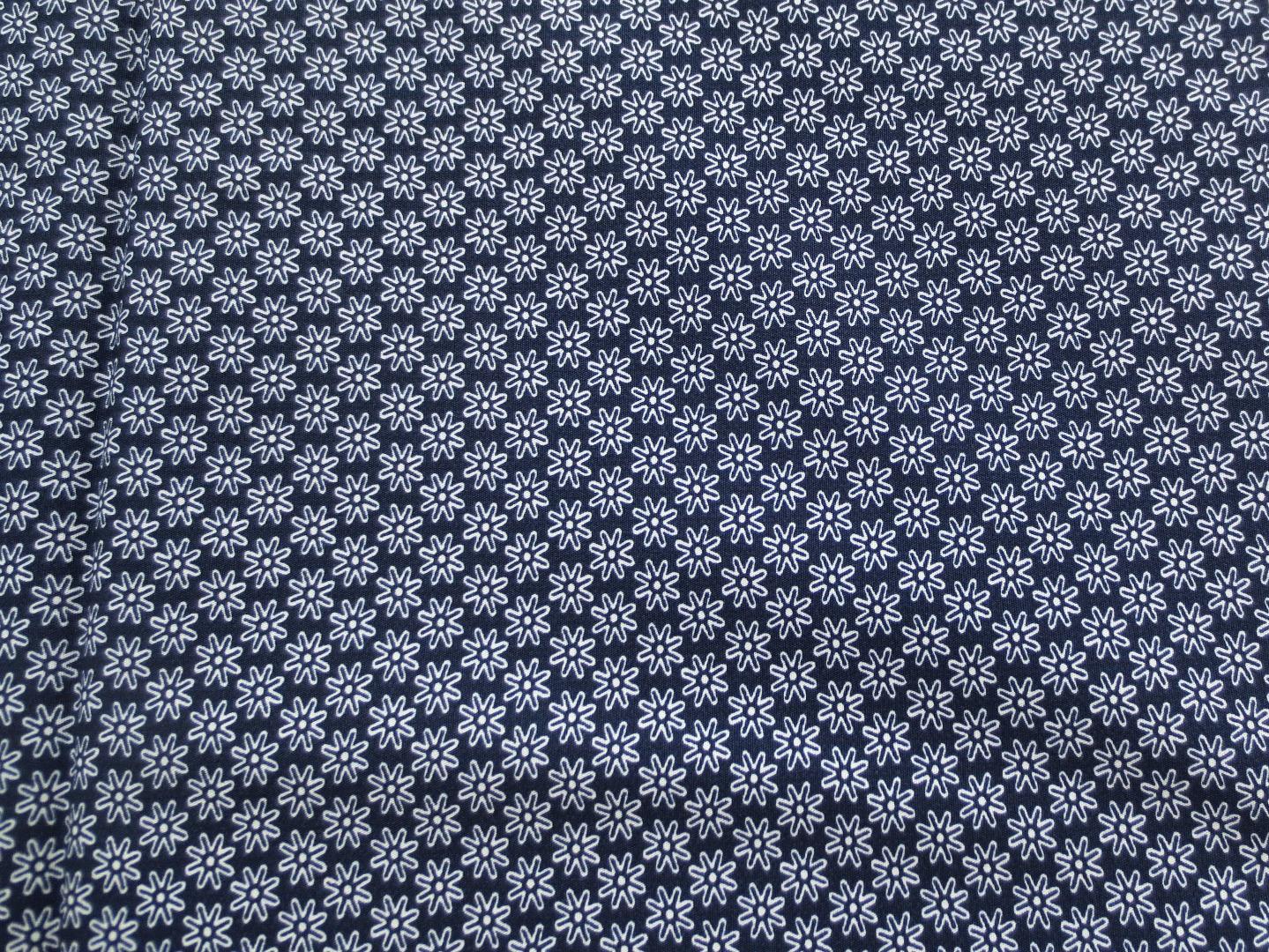 Stoff Blumen marineblau - 100 Baumwolle