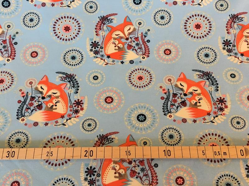 Sommersweat Füchse hellblau 2