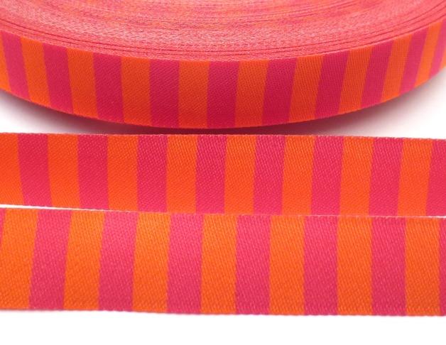 Webband Ringel - orange - pink