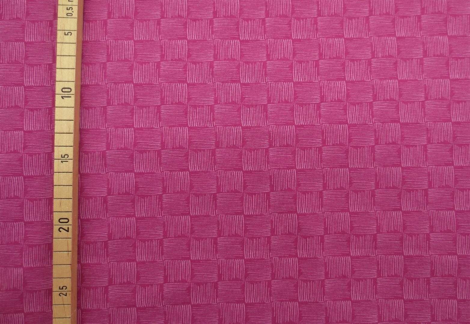 French Terry Karos Pink gestreifte Karos