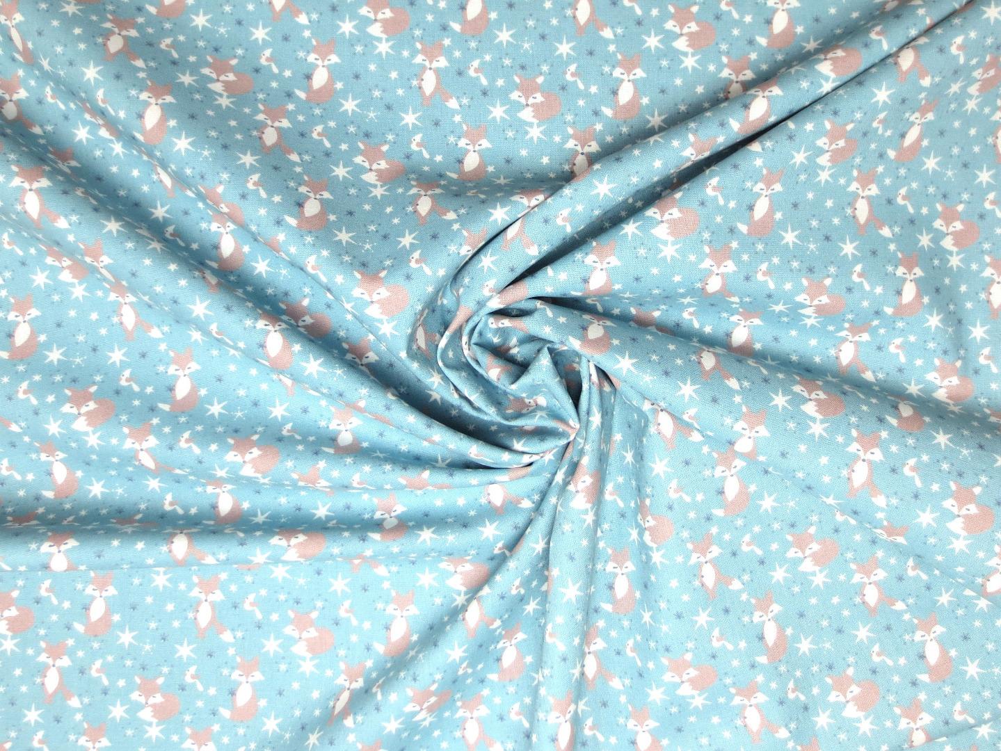 Baumwollstoff Füchse hellblau Westfalenstoffe 100 Baumwolle