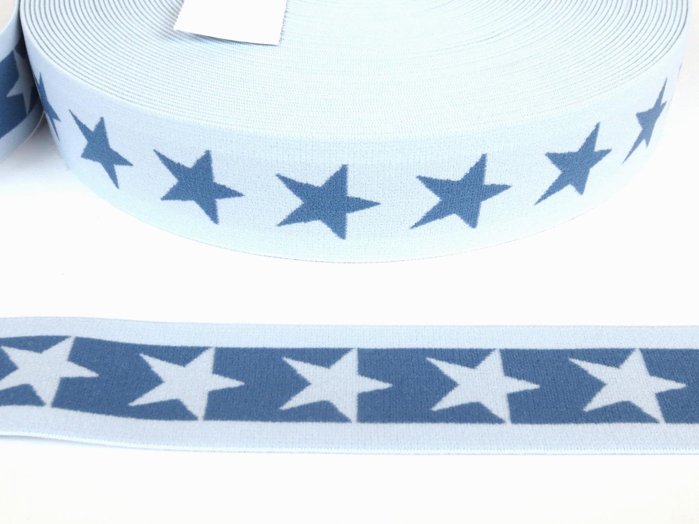 Gummiband Sterne - hellblau-jeansblau - 4