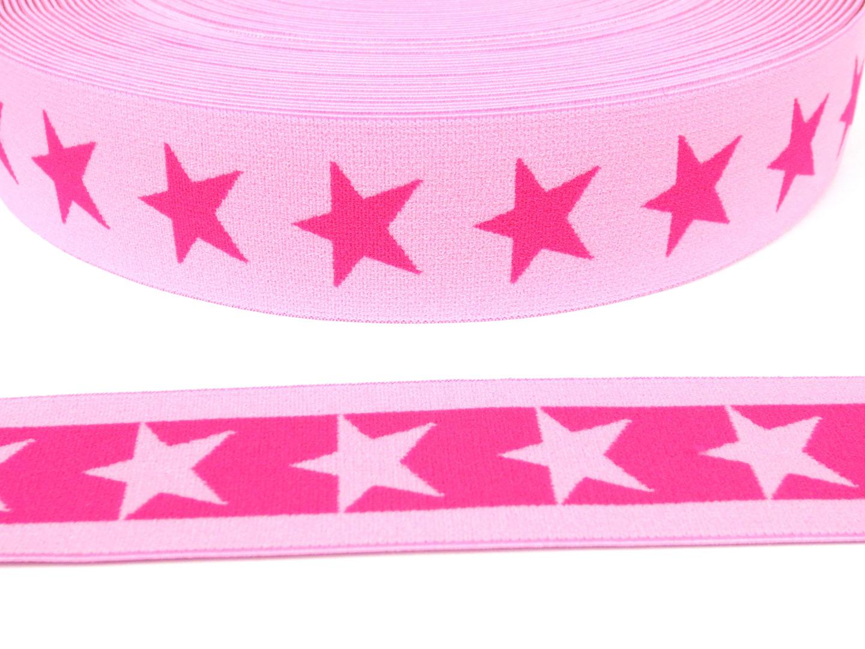 Gummiband Sterne - rosa-dunkelpink - 4