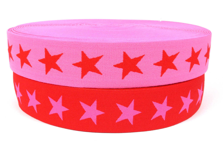 Gummiband Sterne - pink-rot - 4