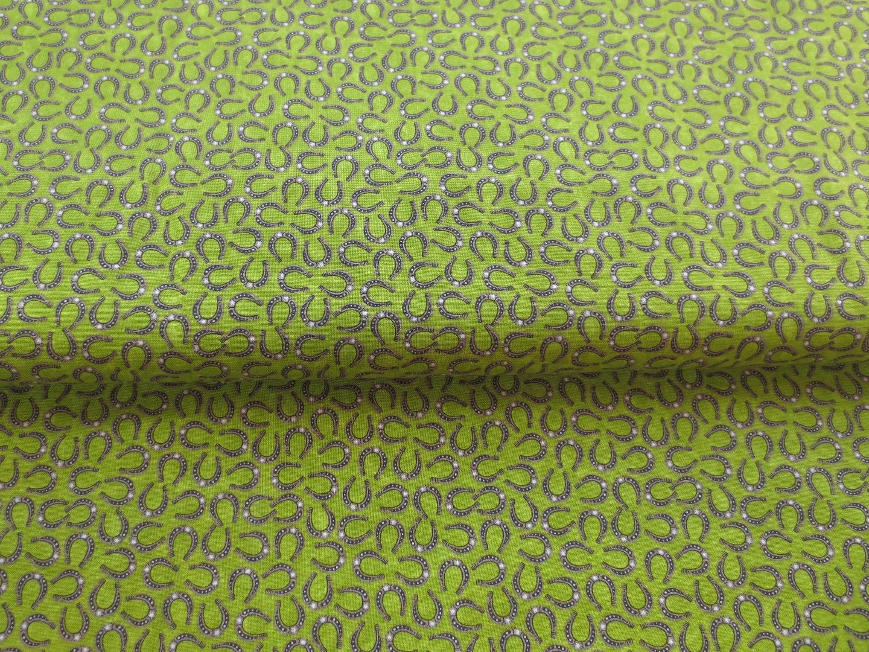 Stoff Hufeisen - Baumwolle - grün