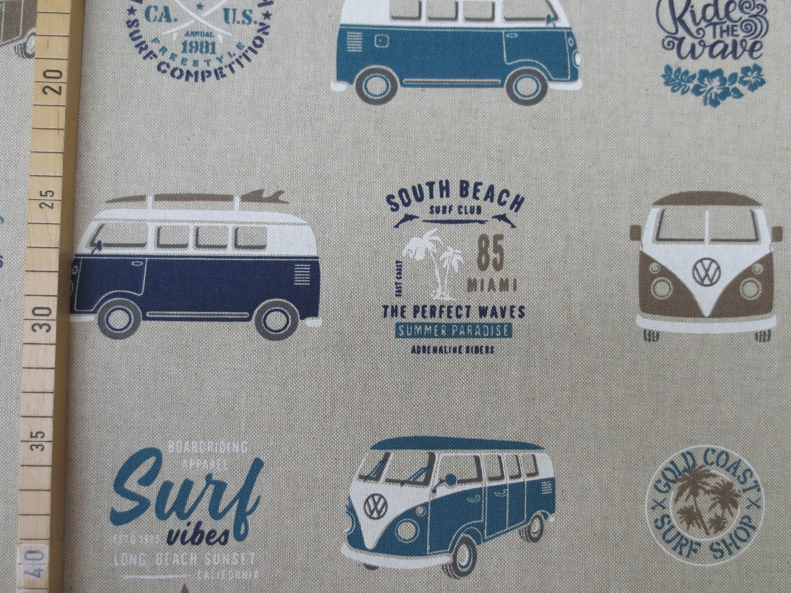 Deko-Baumwolle VW Bus Leinenoptik beige Emilio