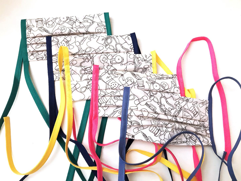 Behelfs-Gesichtsmasken weiß gemustert 100 Baumwolle mit