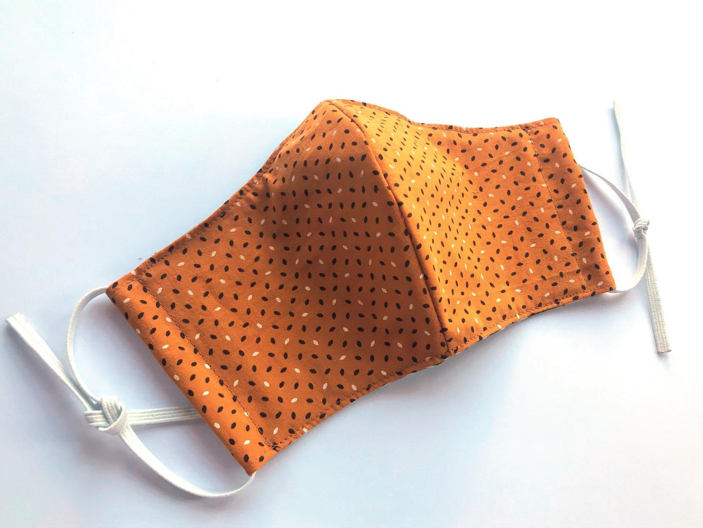 Behelfs-Maske Muster senfgelb -100 Baumwolle mit