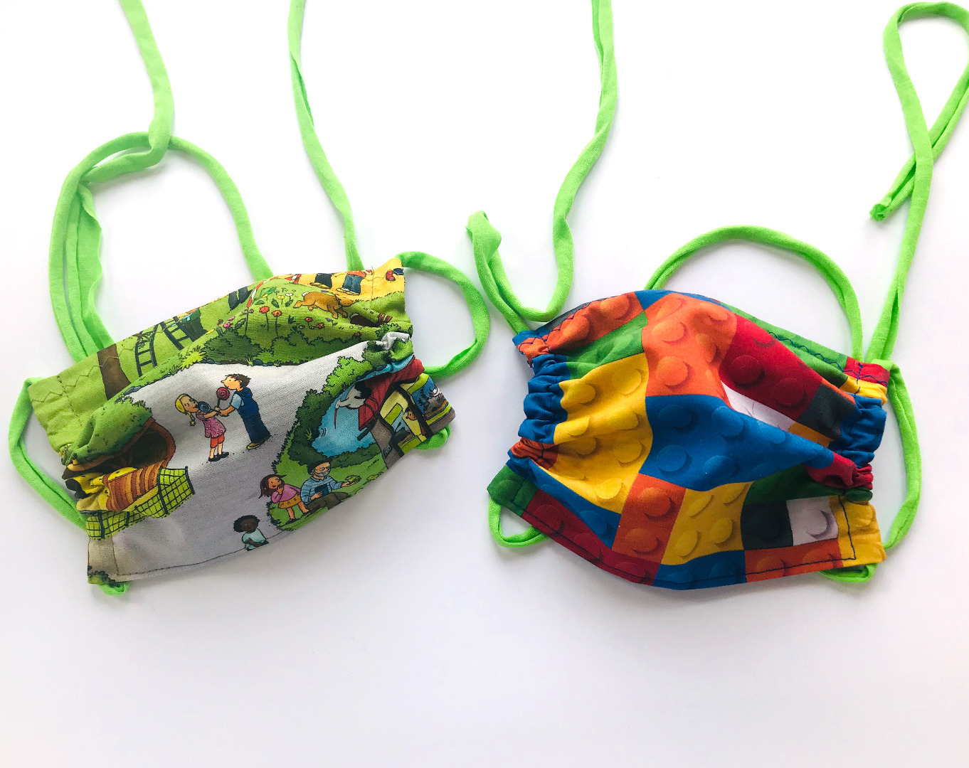 Alltagsmaske Kindergröße -100 Baumwolle mit Jersey-Bändern