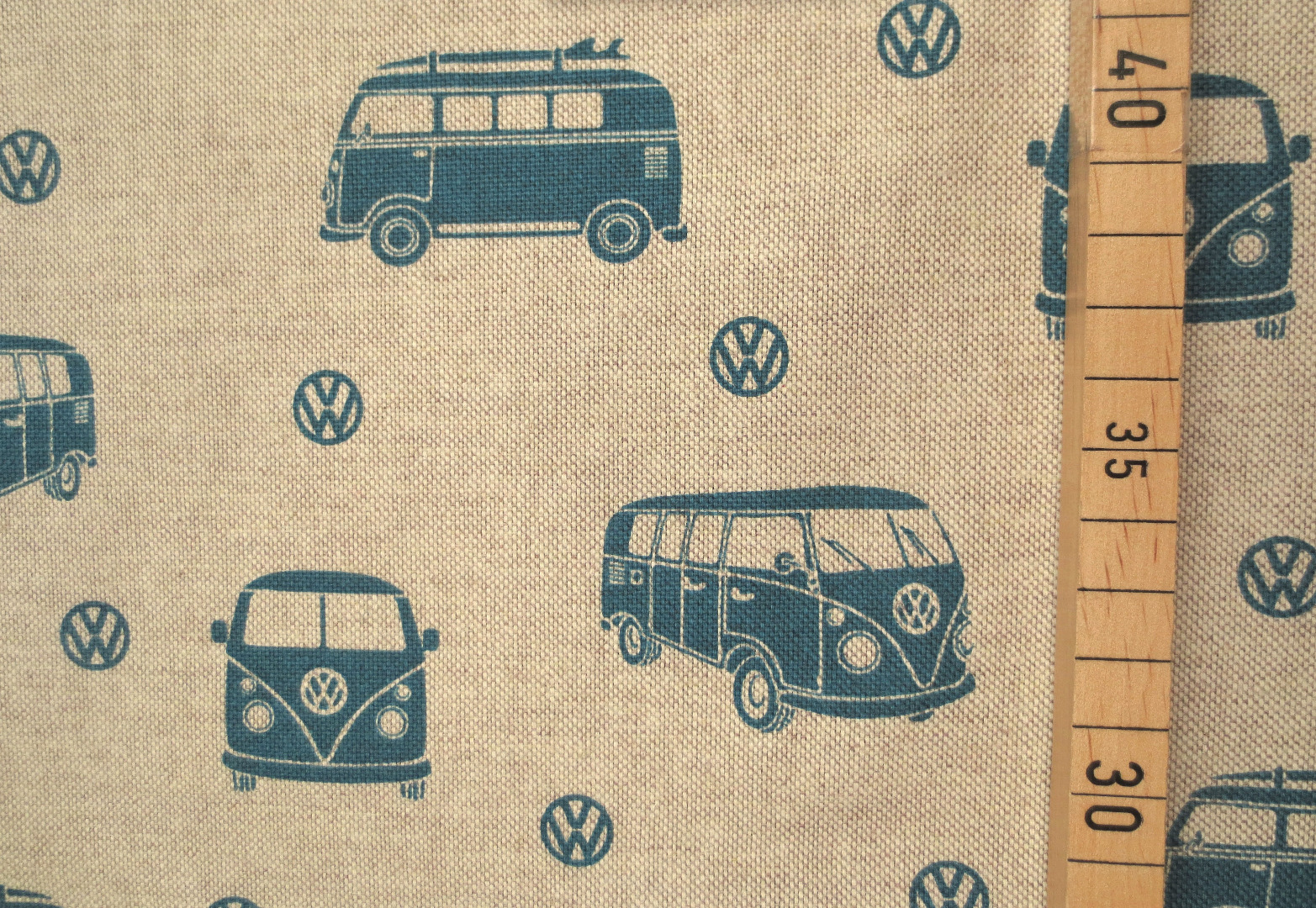 Deko-Baumwolle - VW Bus - Leinenoptik