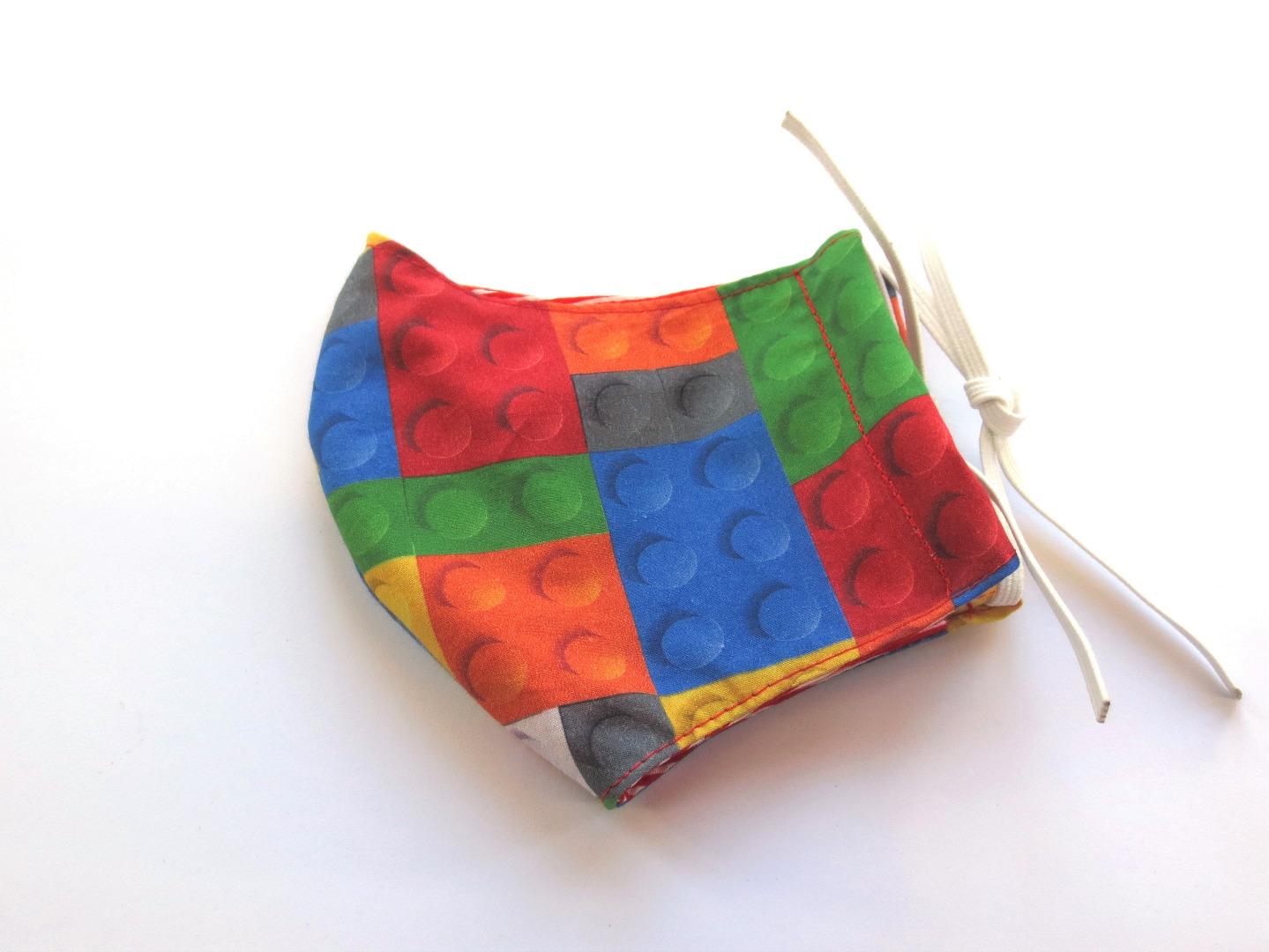 Behelfs-Maske Bausteine -100 Baumwolle mit Gummis
