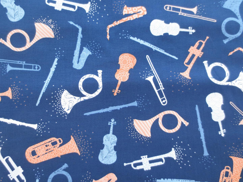 Stoff Instrumente 100 Baumwolle blau Patchwork