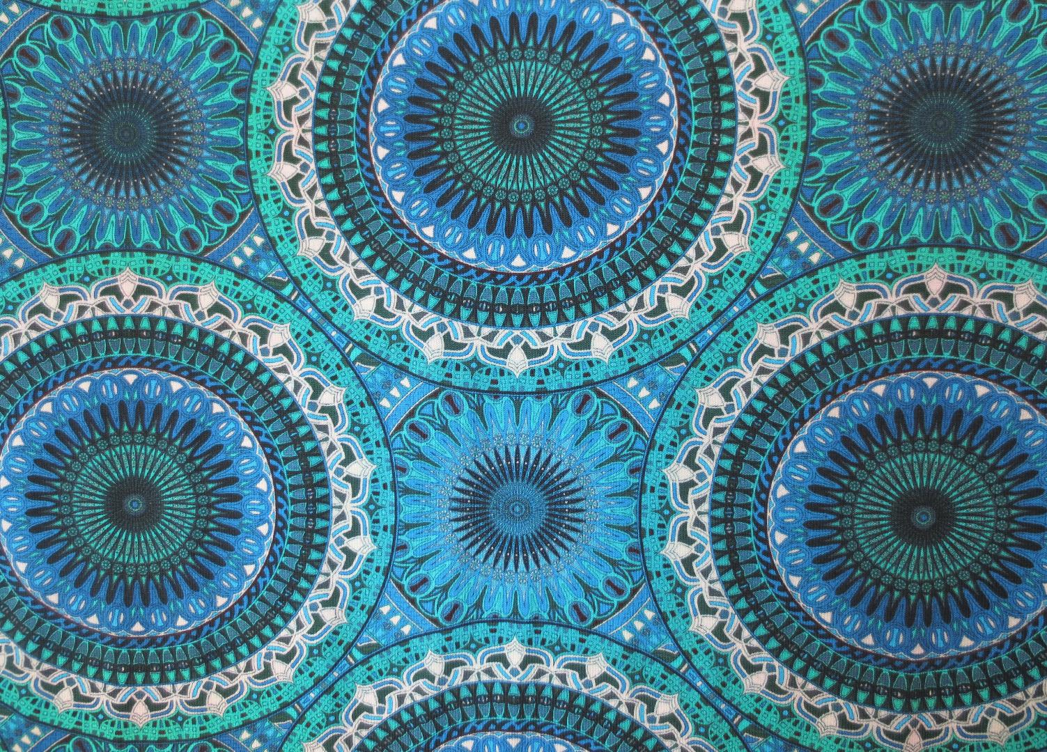 Jersey Mandala - Blautöne- Ornamente 2