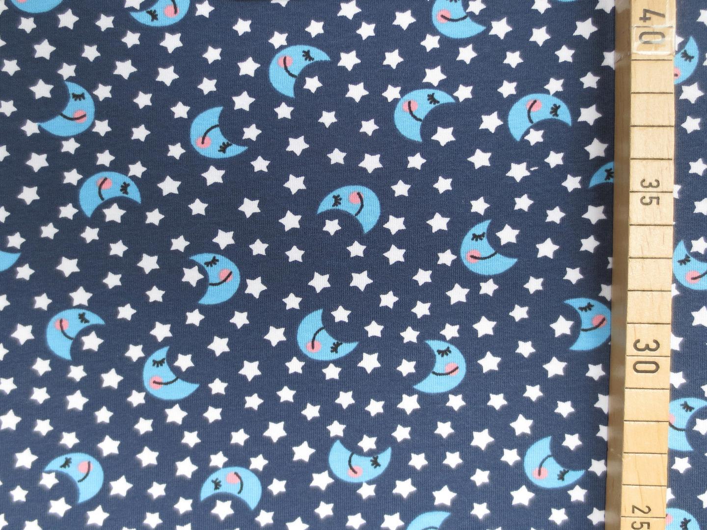 Jersey Mond und Sterne dunkelblau Sternenstoff