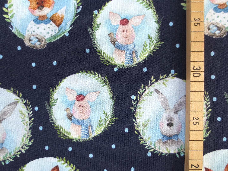Jersey Tiere Füchse Schweine Hasen dunkelblau