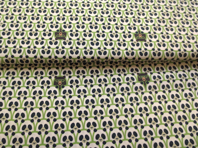 Panda Stoff 100 Baumwolle hellgrün weiß