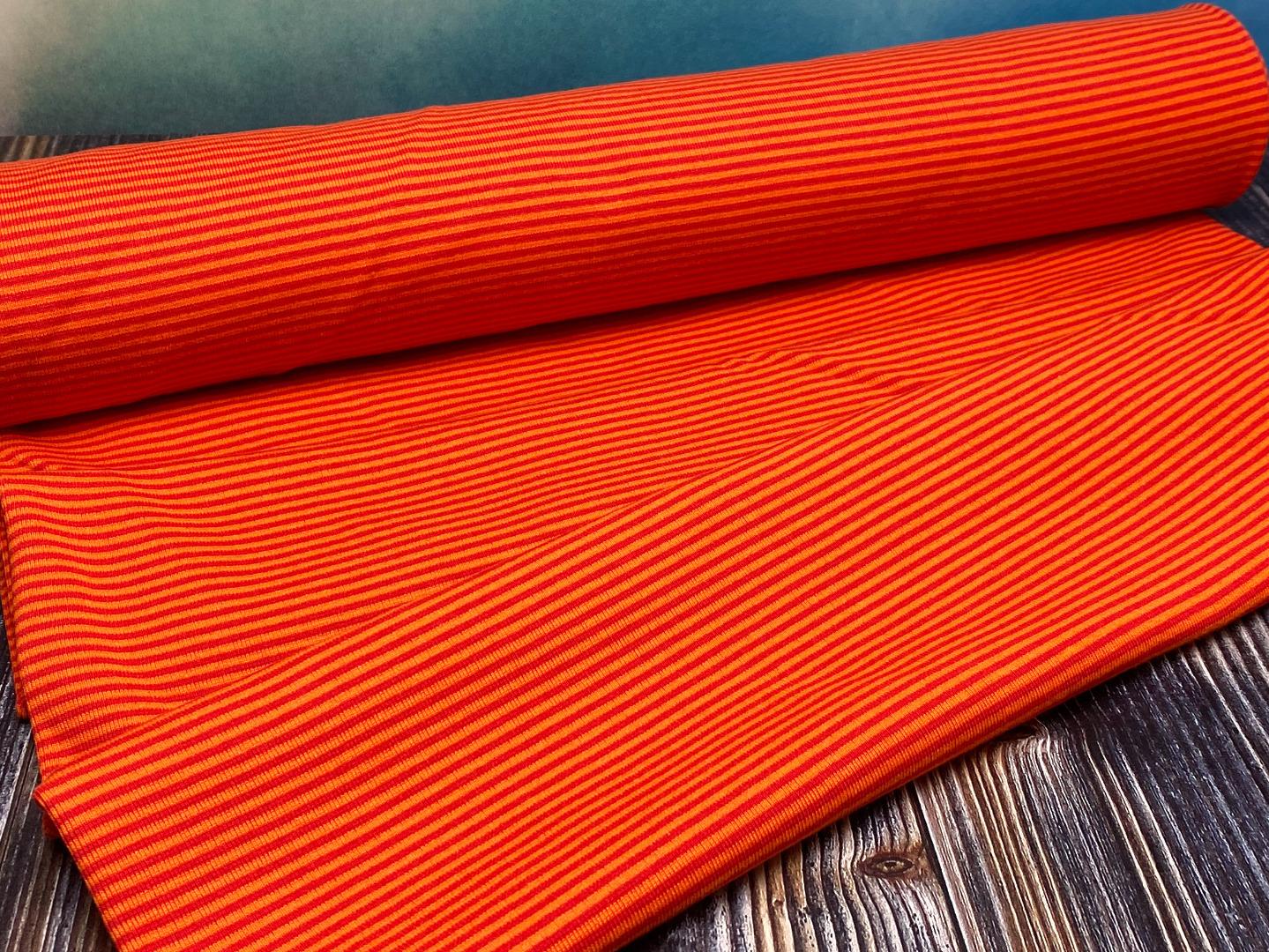 Bündchen - orange/rot - Ringelbündchen -