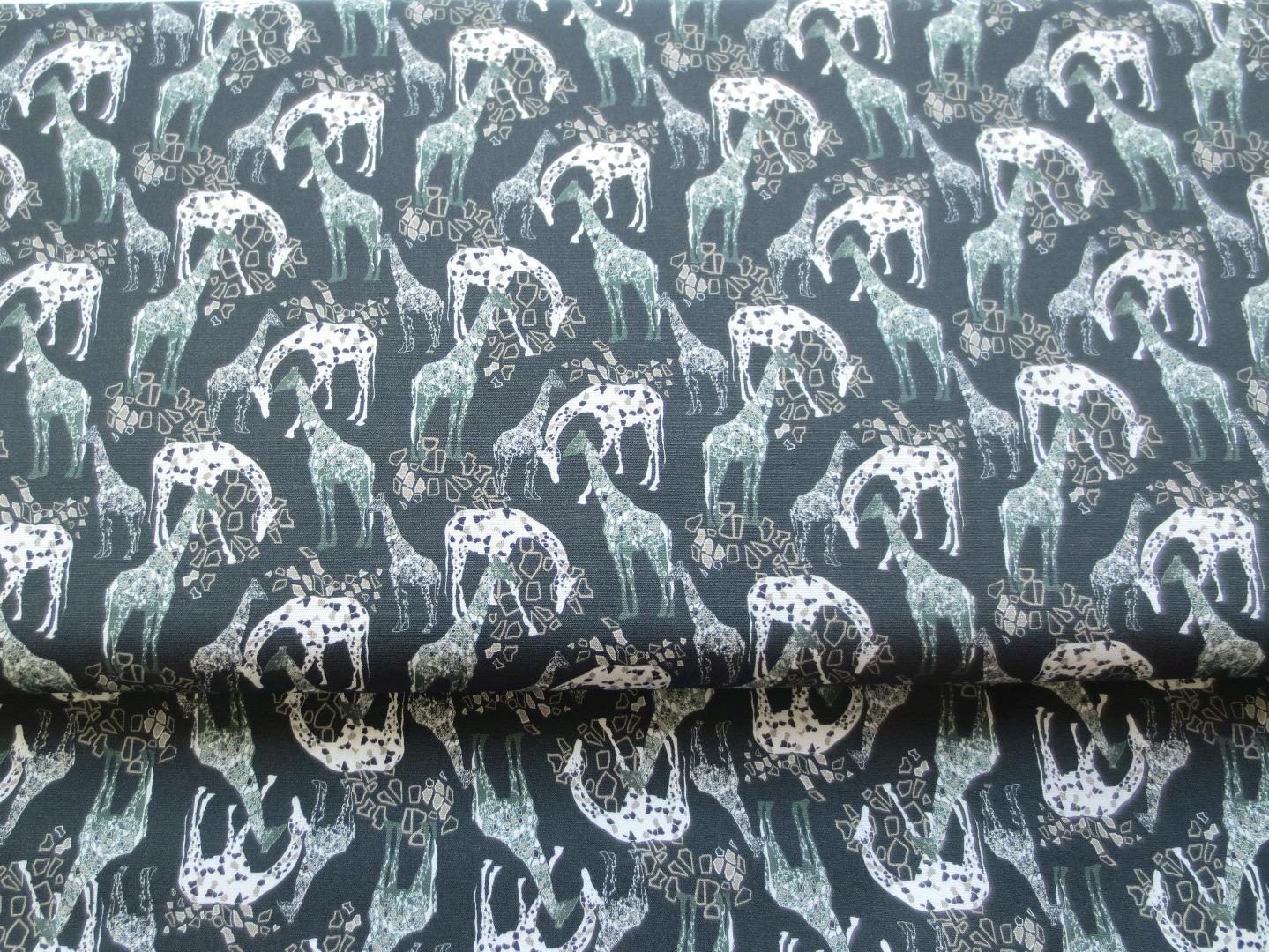 Stoff Giraffe - schwarz - 100