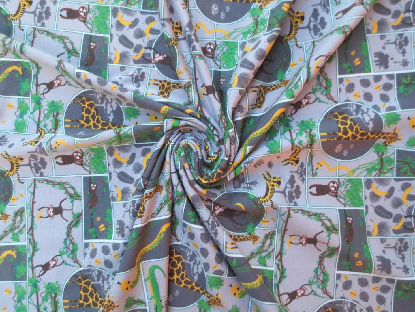 Jersey Dschungel grau Giraffe Faultier Affe