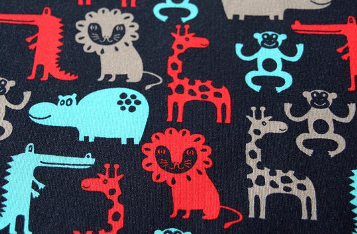 Jersey Zootiere dunkelblau rot mint Löwe