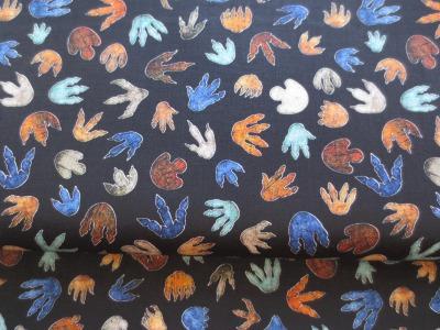 Stoff Dino Spuren Baumwolle schwarz Fußabdrücke