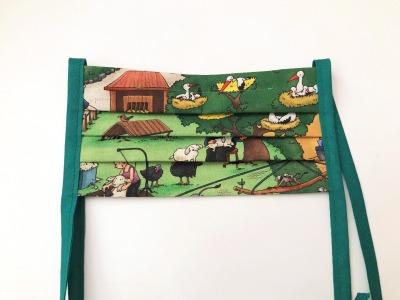 Behelfs-Gesichtsmaske Tierpark -100 Baumwolle mit Bändern