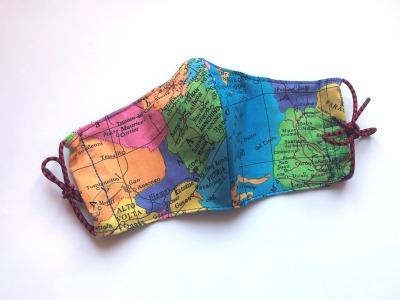 Behelfs-Maske Weltkarte -100 Baumwolle mit Gummis