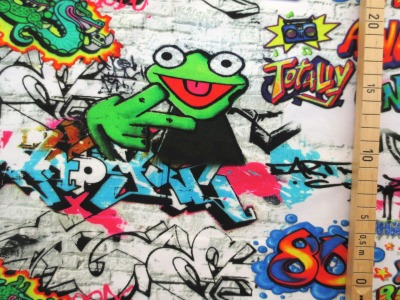 cm Reststück Jersey Graffiti Frosch bunt