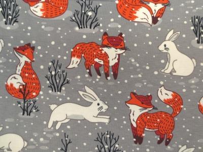 Jersey Fuchs grau Winterfuchs mit Schneehasen