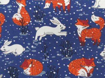 Jersey Fuchs blau Winterfuchs mit Schneehasen