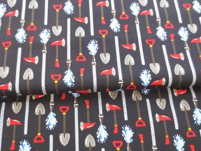Stoff Feuerwehr 100 Baumwolle schwarz Patchwork