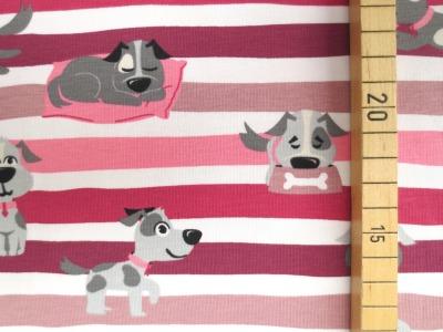 Jersey Hunde - rosa/rot - geringelt